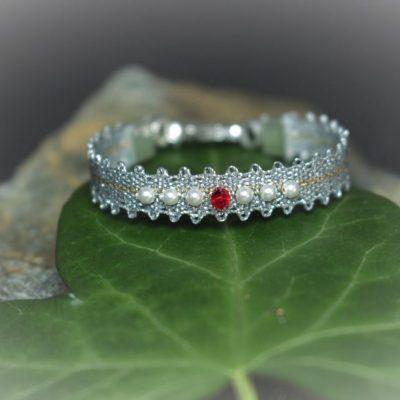 Taufband_rot_Kristall u Perlen